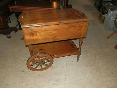 Gorgeous Rustic Country Pine Antique Drop Leaf Tea Cart