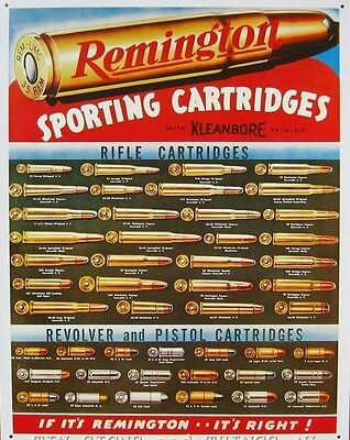 Vintage Replica Tin Metal Sign Remington Sporting Cartridges ammo gun shot 1001