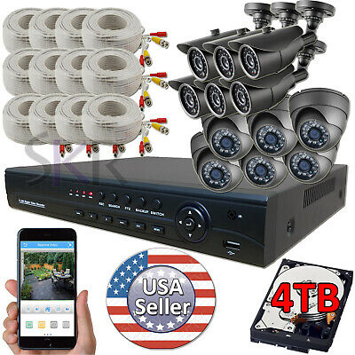 Sikker 16 Ch Channel AHD DVR 12 pcs 1080P 2 Megapixel Camera Security System 4TB