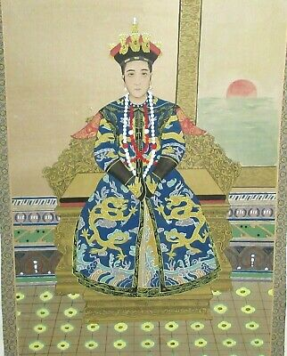 Huge Old Chinese Emperor Watercolor On Silk Painting Unsigned & Unframed