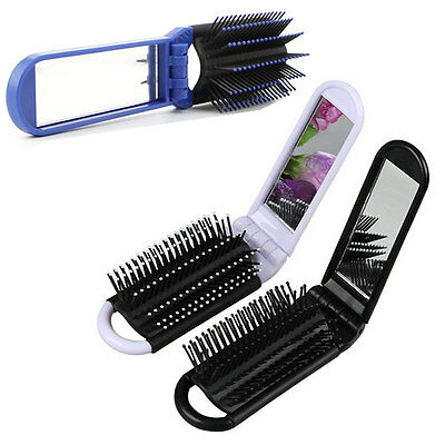 Portable Travel Folding Hair Brush With Mirror Compact Pocket Size Comb