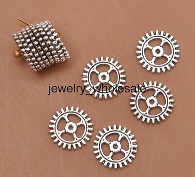 100pcs Tibetan Silver Charms Wheel Gear Spacer Beads DIY Jewelry 10mm A3177