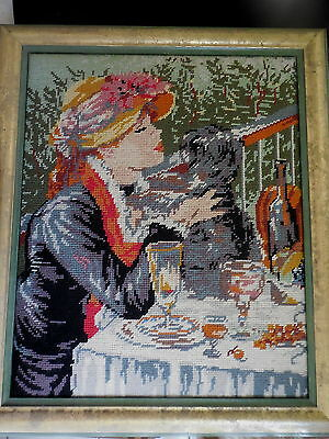 Tapestry Completed & Framed Girl & Dog