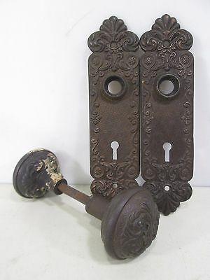Vintage Pair of Victorian Design Iron Door Knobs w/Backplates #2