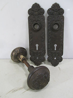 Vintage Pair of Victorian Design Iron Door Knobs w/Backplates #4