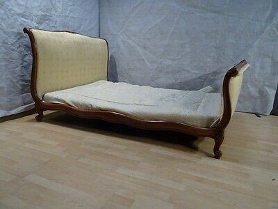 French Vintage double SLEIGH BED CHERRY FRAME CHIC CHATEAU lemon upholstery