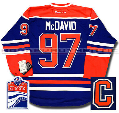 Connor Mcdavid Edmonton Oilers New Home Jersey Reebok Captain Inaugural Patch