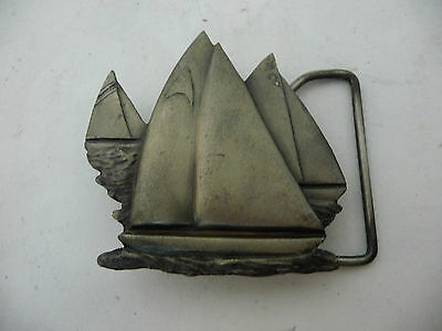 VINTAGE 1978 CUT-OUT **SAILBOATS**Indiana Metal Craft PEWTER BELT BUCKLE