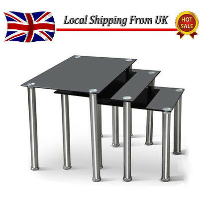 Nest of 3 Tables Set Black Clear Tempered Glass Side End Square Coffee Lamp Desk