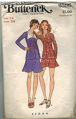 6596 Vintage Butterick Sewing Pattern Misses Long Fitted Top Princess Seam Dress
