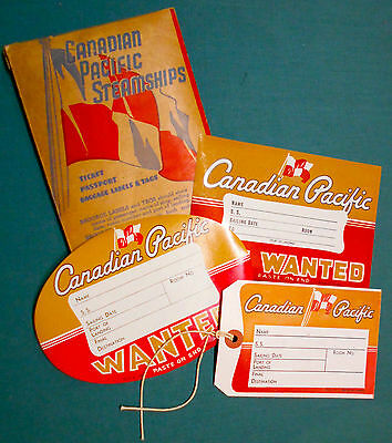 Original Canadian Pacific Steamship Label Shipping Tag Label Litho Lot + Folder