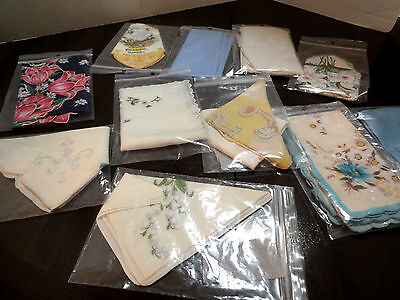 Lot of 12 Vintage Handkerchiefs, Lace, Embroidered, Floral, Child's , Various