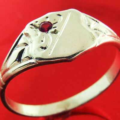 Ffs3-154Sr Authentic Real 925 Sterling Silver Ruby Shield Signet Ring Size H