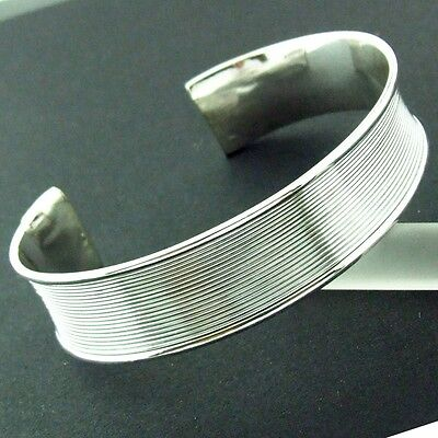 Shop172 Genuine Hallmarked Real 925 Solid Sterling Silver Cuff Bangle Bracelet