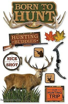 Paper House 3-D Stickers - Stag Deer Rifle Hunting Trip - Born To Hunt
