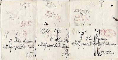 * 1823 x 3 ITALIAN STATES LETTERS NAPOLI TO EXCELLENCY FIRENZE - ITALY FLORENCE