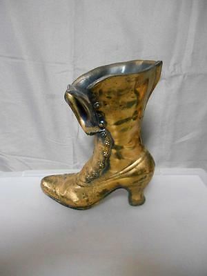 Gold tone metal decorative collectible Victorian boot