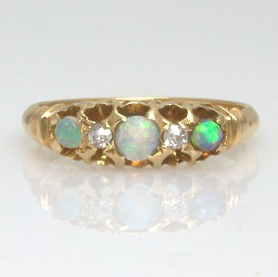 Antique Victorian 18ct Gold Opal and Diamond Ring Size K Hallmarked 1898