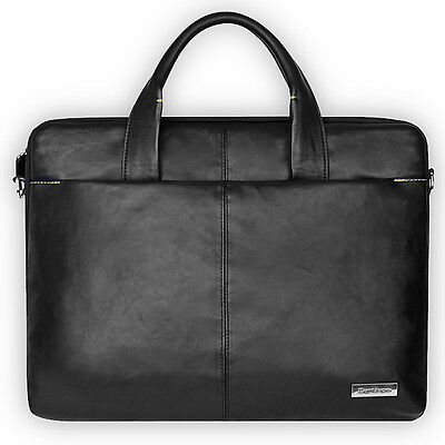 """Computer Carrying Sleeve Bag 15"""" Tablet PC Laptop MacBook / Leather PU / BK"""