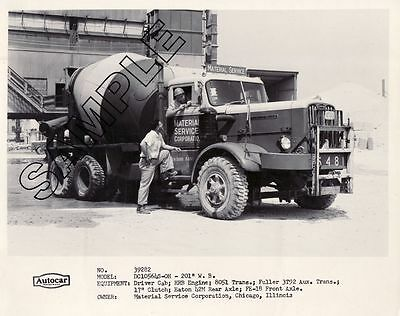 MATERIAL SERVICE CORP. 1954 AUTOCAR DC105 CONCRETE MIXER 8x10 B&W GLOSSY PHOTO