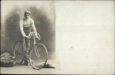 Man on Early Racing Bicycle Publ in Rome Italy c1910 Real Photo Postcard