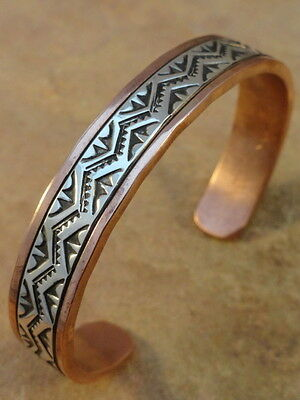 Beautiful Navajo Stamped Copper & Sterling Silver Bracelet (Mens Sz)