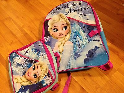 "B1 Frozen Disney Anna Elsa 16"" School Backpack Lunch Box BLUE Pink Book Bag"