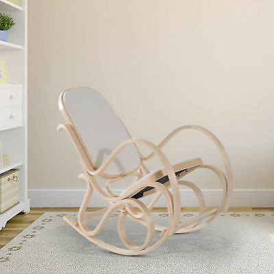 Rocking Chair Bentwood Relaxing Lounger Padded Seat Classic Home Furniture Beige