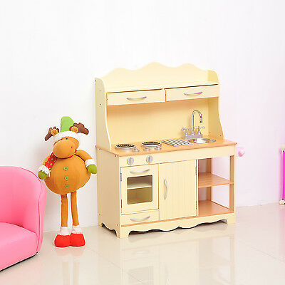 Children's Role Play Pretend Set Toy Large Girls Kids Wooden Play Kitchen