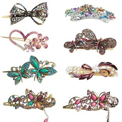 Vintage Women Fashion Crystal Rhinestone Headband Hair Barrette Clip Hairpin New