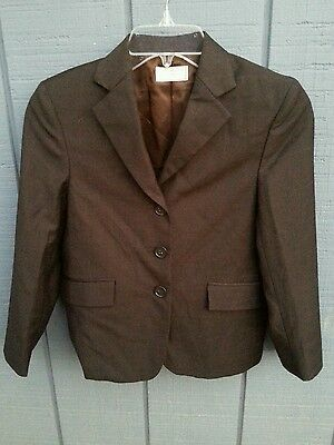 NWT WELLINGTON COLLECTION Girls SZ 10F 10 Full Horse Show Jacket Coat Dark Brown