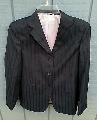 NWT WELLINGTON COLLECTION $99 SZ 8F Washable Horse Show Jacket Coat Navy Stripe