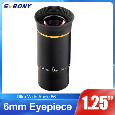"1.25"" Ultra Wide Angle Eyepiece Lens 6MM 66-Deg Multi-coated for Telescope US"