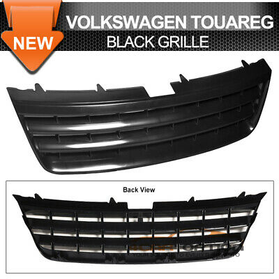 Fits 03-07 VW Touareg Badgeless Black ABS Front Hood Grille