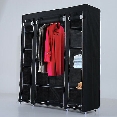Double Clothes Closet Wardrobe Rail Section Garment Storage Hanging Shelves Home