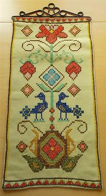 Swedish hand-cross-stitched sampler, Tree of Life with blue birds, metal hanger