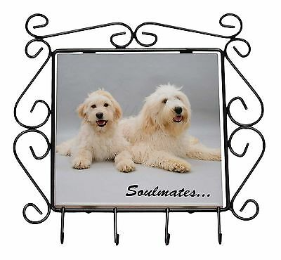 Labradoodle Dogs 'Soulmates'  Wrought Iron Key Holder Hooks Christmas, SOUL-40KH