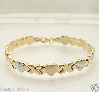"7.25"" Hearts & Kisses Bracelet 14K Yellow White Two-Tone Gold Clad Silver 925"