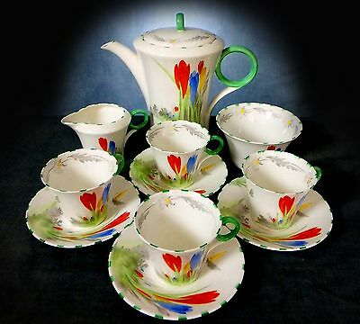 Rare Shelley Hand Painted Art Deco Crocus Pattern, Regent Shape Coffee Set