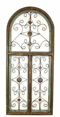 Barcelona- Rustic Architectural Wall Garden Window-Wood & Iron- Decor-Turquoise