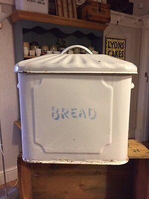Vintage Small-Sized White Traditional Enamel Bread Bin – Fluted Lid Kitchenalia