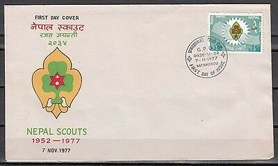 * Nepal, Scott cat. 336. Scouts 25th Anniversary issue on a First day cover.