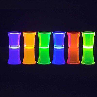 24 x Reusable Plastic Neon 35ml Shot Glasses Dishwasher Safe - Glow in the Dark!