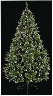 1.8m Pvc Rocky Mountain Christmas Tree With Cones & Snow Tipped Branches Xmas