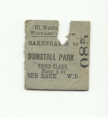 GWR ticket, Oakengates to Dunstall Park, 1937