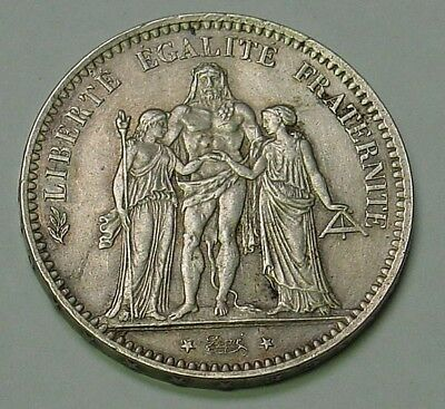 FRANCE. 1877A Silver 5 marks, KM #820.1, pretty, Extremely Fine.