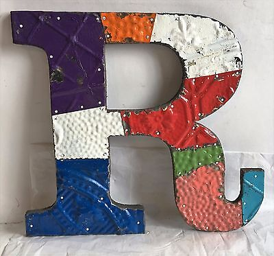 "1890's Antique Tin Ceiling Wrapped 12"" Letter 'R' Patchwork Multi Color F1"