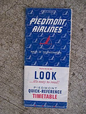 1962 Piedmont Airlines Quick Reference Timetable Route Map Fares F-27 DC-3   S