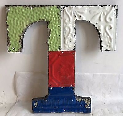 "1890's Antique Tin Ceiling Wrapped 12"" Letter 'T' Patchwork Metal Multi Color F9"