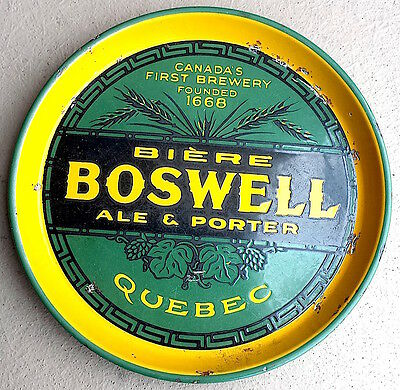 Rare Beer Tray Boswell's Quebec Brewery Ale Lager Biere Montreal Antique Vintage